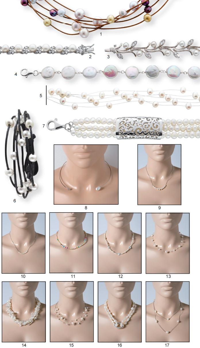 Perlen Kette Silber