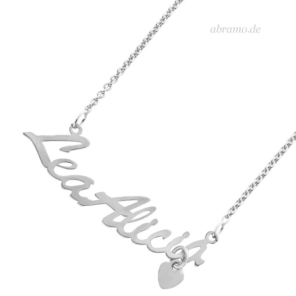 Namenskette Silber Herz