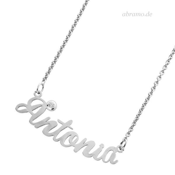 Namenskette Silber Zirkonia