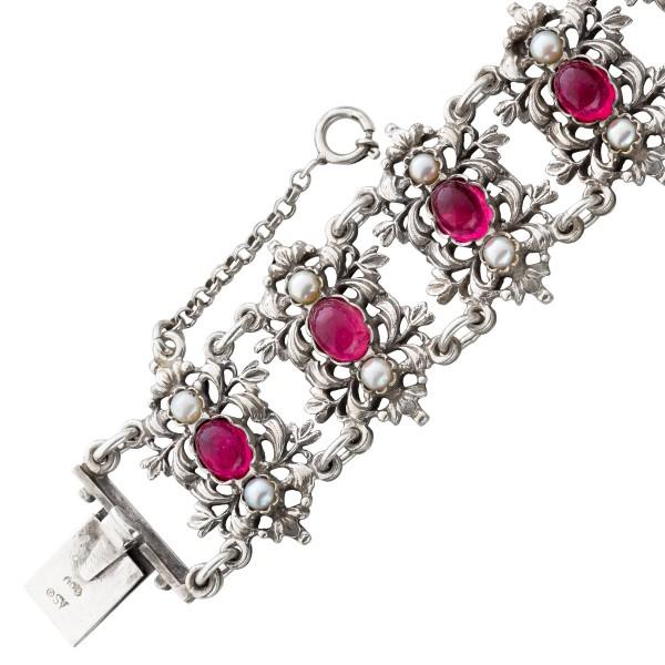Antikes Armband um 1900 Silber 800 pinkf...