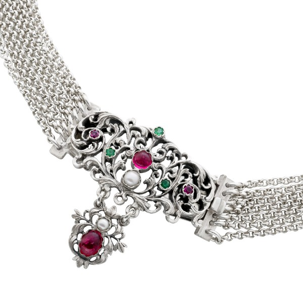 Antikes Kropfband / Halsband um 1900 Sil...