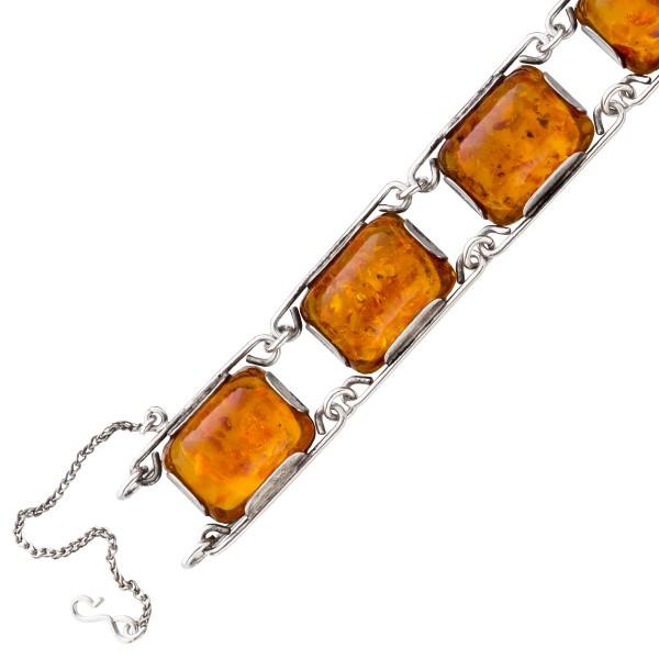 Antikes Bernsteinarmband Silber 925 fein...