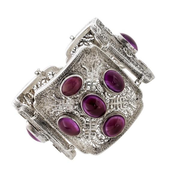 Um 1900 antiker lilafarbener Amethyst Armreif 3-gliedrig massiv Silber 925 Edelsteinschmuck