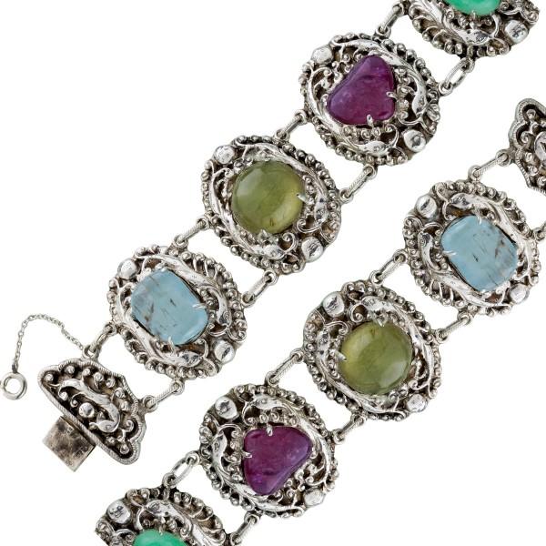 Buntes antikes Trachtenarmband Edelsteinschmuck um 1900 Silber 835