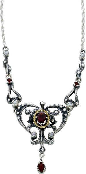 Antikes Trachtencollier Silber 925/- um 1900 Flussperlen rote Granat Edelsteine 43cm
