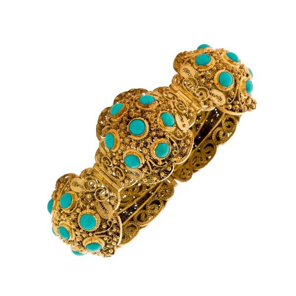 Antikes Armband vergoldet Silber 800 orientalisch-etruskisch vergoldet Türkis Edelsteine 17cm