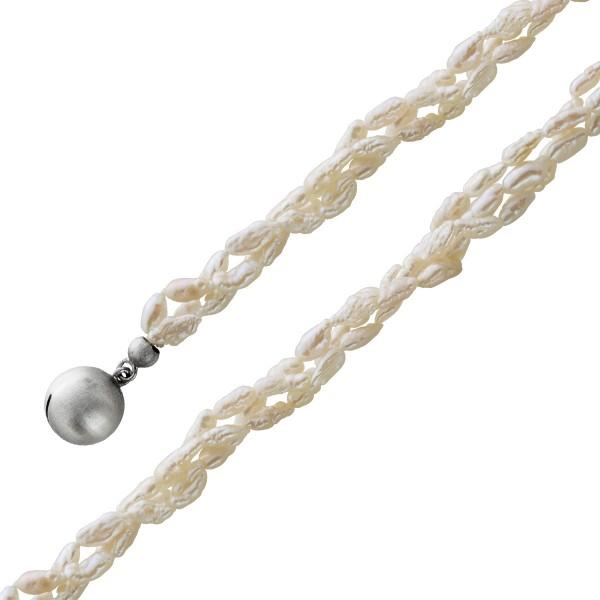 Perlenkette Collier Süsswasser 3-reihig Reiskornform 3,5-6mm weiss leicht geriffelt Silberschließe 42cm
