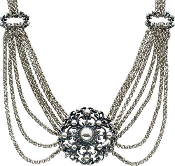 Antike bayrische Trachtenkette Silber 925 Halskette um 1900 36cm