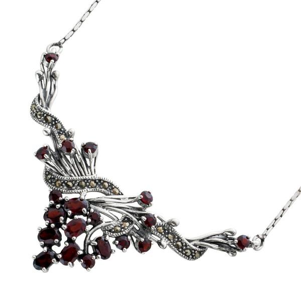 Antikes Jugendstil Granat Collier Halskette Kette 20er Jahren Silber 925 rot braune Granate  Markasit Steine 46cm