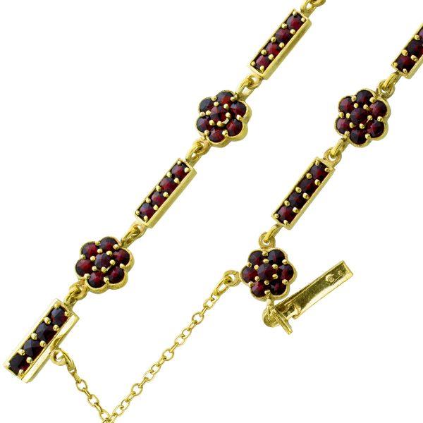 Antikes Edelstein Armband Silber 925/- vergoldet, 20-er Jahre Roter Granat Sicherheitskette Kastenschloss 18cm
