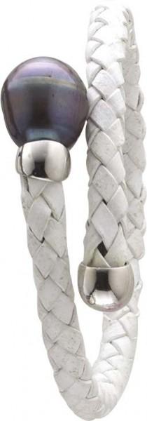 Armreif in 18 cm / Collier in 45 cm Länge, weißes geflochtenes Lederband, Stärke ca. 0,5 cm, mit einer echten schön glänzenden schwarzen Süßwasserzuchtperle (Durchmesser ca. 12-13mm) , dehnbar. Edel im Design und ein absoluter  Hingucker aus dem Hause Abr