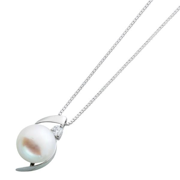Venezianercollier Damen Halskette Silber 925  Silberkette weisser Süßwasserzuchtperlen Anhänger klare weisser runder Zirkonia