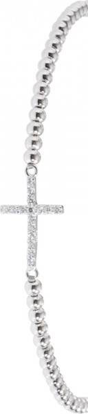 Toyo-Yamamoto – Stylisches Armband in Silber Sterlingsilber 925/-, rhodiniert, mit einem Kreuz als Zwischenteil besetzt mit 16 funkelnden Zirkonia. Dieses Armband ist dehnbar von 18cm-21cm, Durchmesser Armband 2mm, Durchmesser Kreuz 9x15mm.  Nur erhältlic