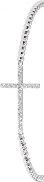 Toyo-Yamamoto – Stylisches Armband in Silber Sterlingsilber 925/-, rhodiniert, mit einem Kreuz als Zwischenteil besetzt mit 23 funkelnden Zirkonia. Dieses Armband ist dehnbar von 18cm-21cm, Durchmesser Armband 3mm, Durchmesser Kreuz 24x14mm.  Nur erhältli