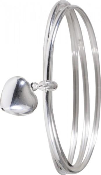 Armreif in Silber Sterlingsilber 925/-, 3-teilig, mit einemHerzanhaenger Masse 14X16mm, poliert