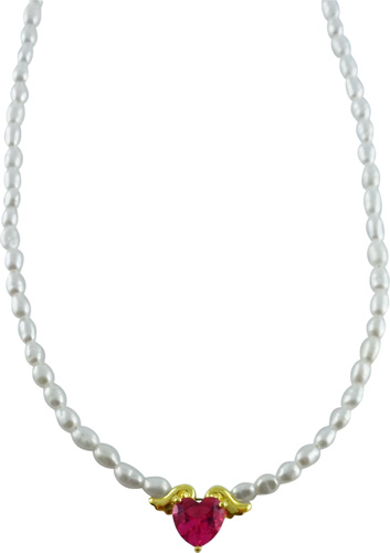 Perlenkette – Perlencollier in Sil...