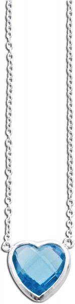 Collier Silber Sterlingsilber 1 Zirkonia Herz 42+5cm
