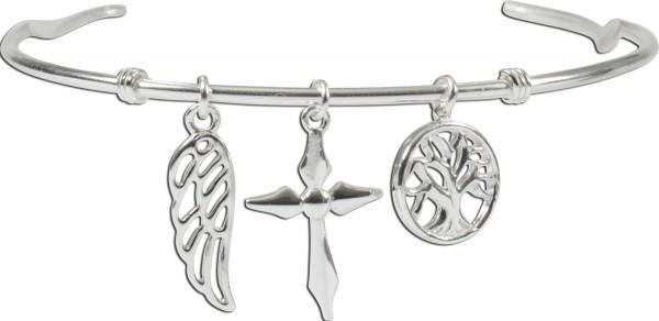 Armreif 925er Sterling Silber Lebensbaum Kreuz Flügel