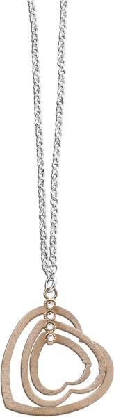 Collier Silber Sterlingsilber Herzanhänger rotvergoldet 4 Zirkonia 42+5cm