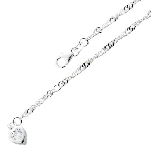 Fusskette Sterling Silber 925 Zirkonia Anhänger Herz