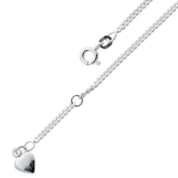 Fusskette Sterling Silber 925 Herz Anhänger