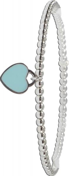 Armband Sterling Silber925 mit Herz türkisemailliert 11x15mm18cm