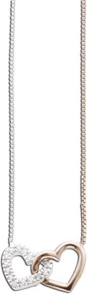 Kette Collier SterlingSilber 925 teils rosevergoldet mit 2 Herzen mit cirkonia besetzt 20x10mm, 40+6cm