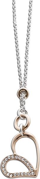 Silberkette 925/- Herz teils rose vergoldet, Zirkonia, 42+5cm