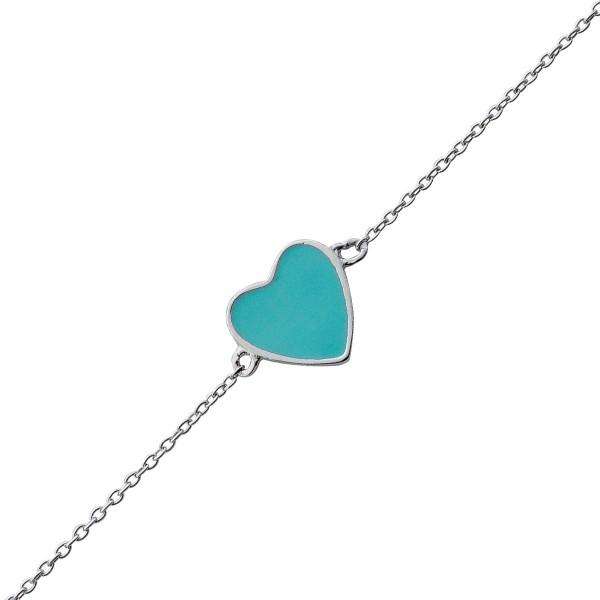 Freundschaftsarmbänder Sterling Silber 925 Herz Türkis emailliert Armband