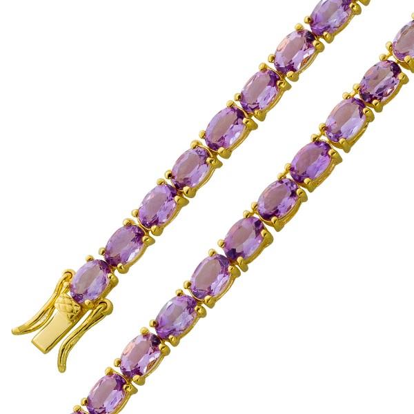 Amethyst Kette Armband Edelsteinarmband lila Silber 925 vergoldet