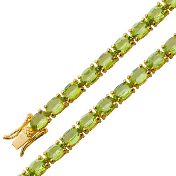Peridotarmband – Edelsteinarmband – Sterling Silber 925 gelb vergoldet