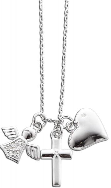 Kette Collier Sterling Silber 925 mit Engels- Rufer, Herz und Kreuz Anhänger mit Diamanten