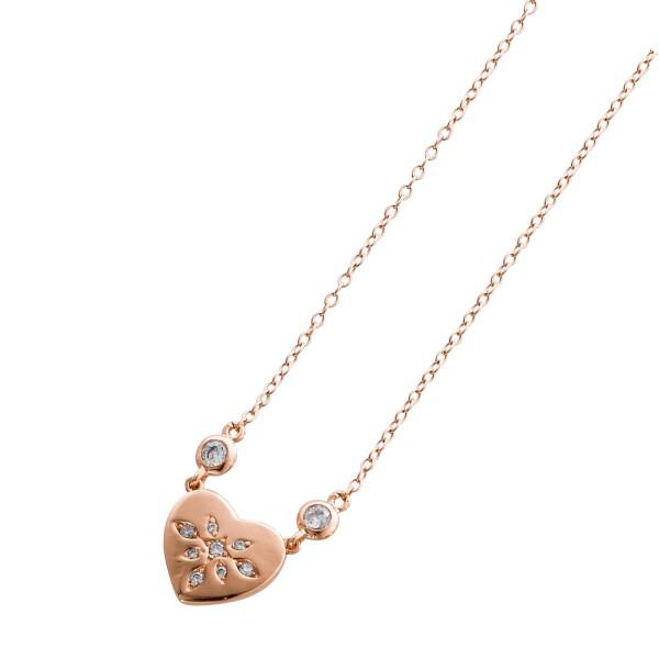 Kette mit Herz – Silberkette Sterling Silber 925/- rosé vergoldet mit Zirkonia