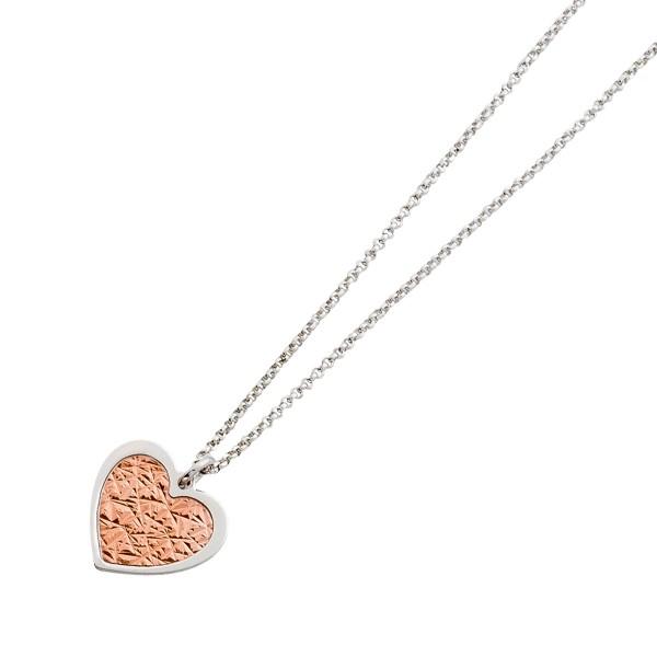 Silberkette – Herzanhänger – Sterling Silber 925 teils rosé vergoldetem Herz