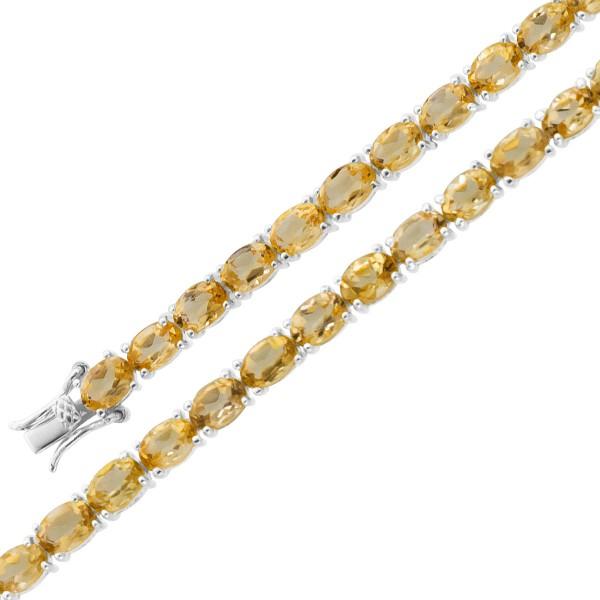 Edelsteinarmband – Edelsteincollier Sterling Silber 925 gelber Citrin