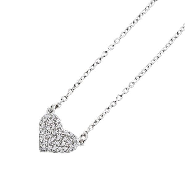 Kette Herzkette Sterling Silber 925 Zirkonia