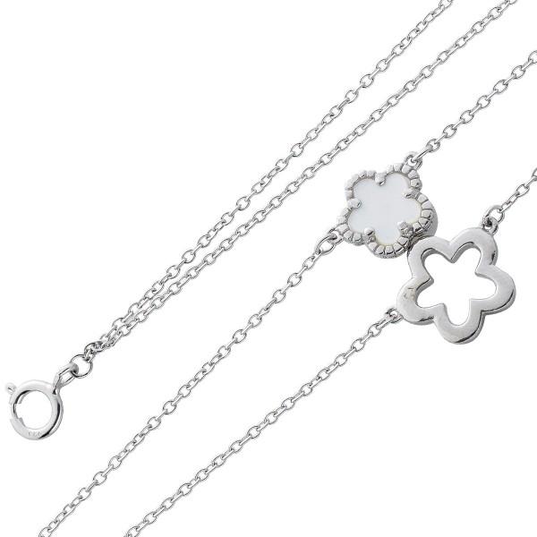 Kette Fusskette Sterling Silber 925 Perlmutt Blume