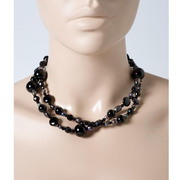 Perlenkette – Schwarz Achat Edelsteinkette Perlencollier Kette Süsswasserzucht Perlen