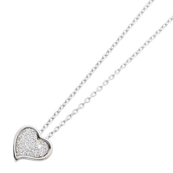Kette Ankerkette Sterling Silber 925 Glitzeranhänger Herz