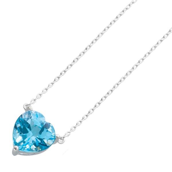 Anhängerkette Blautopas Herz Sterling Silber 925  blauer Edelstein