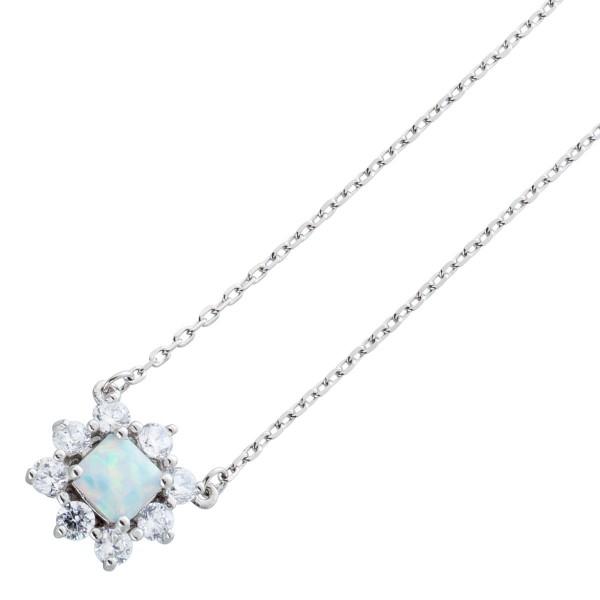 Opal Anhänger Silberkette  weisse Zirkonia