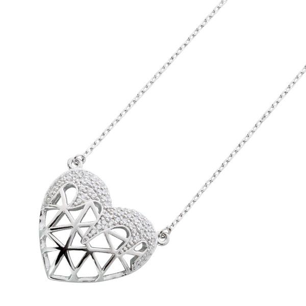 Herzkette Silber 925 Herz Anhänger Kett...