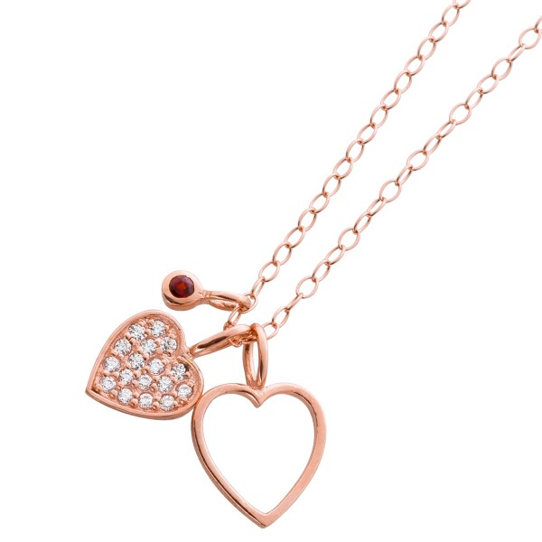 Herzkette Herz Kette Silber Zirkonia Anhänger Silber 925 rose vergoldet