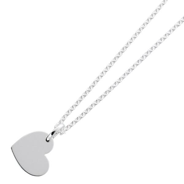 Kette Gravurplatte Herz Silber 925