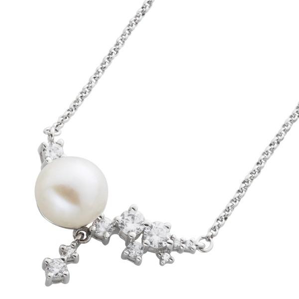 Kette Silber 925 Perle weiß Erbskette Anhänger Süßwasserzuchtperle Zirkonia
