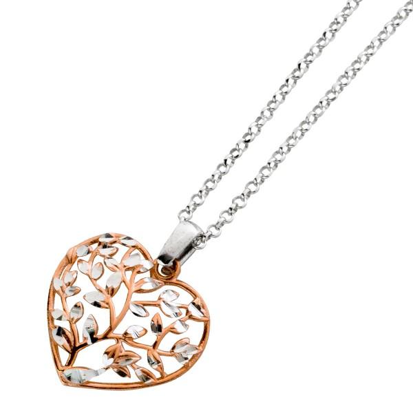 Herzkette Herz rose vergoldet, Silber, 40+5cm