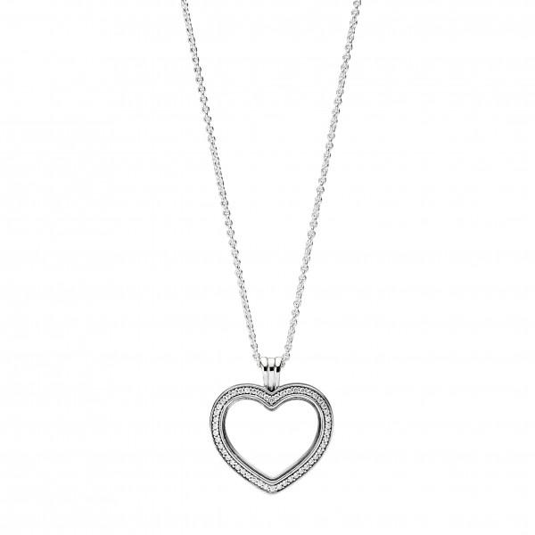 PANDORA SALE Medaillon Halskette Anhänger 397230CZ-60 Sparkling Floating Heart Locket Sterling Silber 925 zum Öffnen Herzform