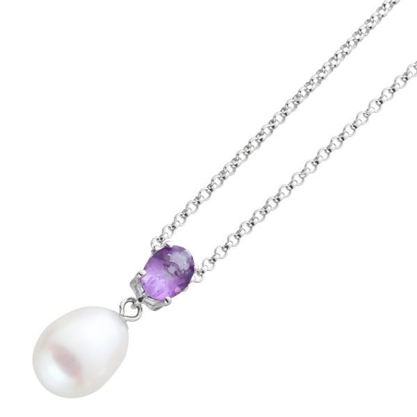 Violett Halskette Amethyst  Anhänger lila weisse Süsswasser zucht perle Silber 925 42cm