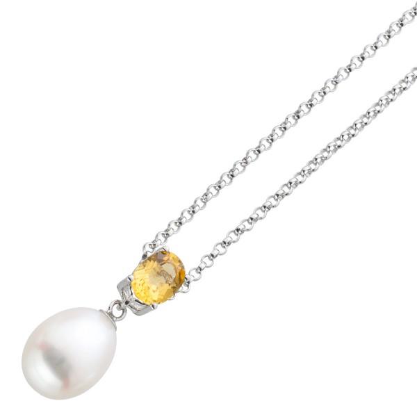 citrin Halskette Anhänger gelb braun weisse Süsswasser zucht perle Silber 925 42cm