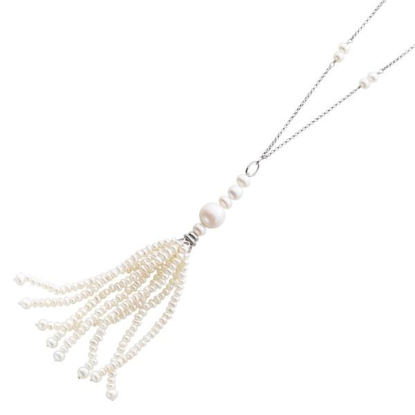 Perlenkette Anhänger Silber 925 weisse ...